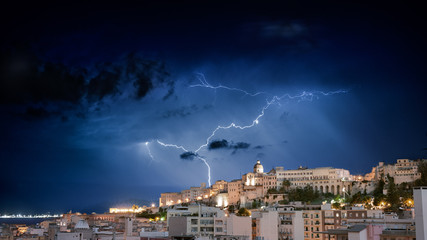 lightning in the city by night