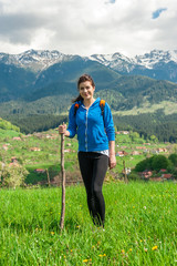 Young woman hiking portrait