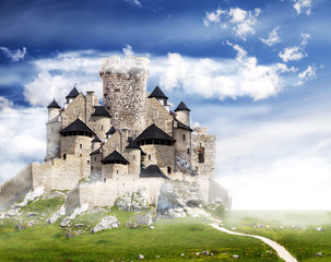 Fantasy castle with clouds and blue sky.