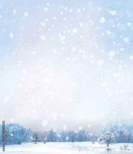 Vector of winter scene with forest background.