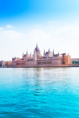 Parliament on Danube river at summer time