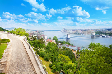 Budapest and Danube panorama view from top
