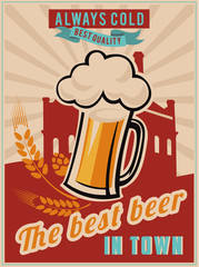 Retro beer vector poster.
