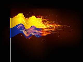 Ukrainian flag in flames.