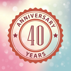 40 Years Anniversary-Retro seal, with colorful bokeh background