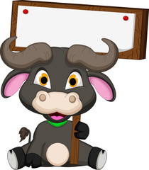 buffalo cartoon with blank board