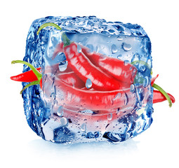 Hot pepper in ice cube