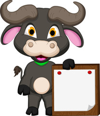 buffalo cartoon with blank sign