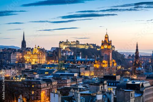 canvas print picture Edinburgh Evening Skyline HDR