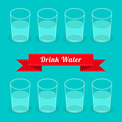 Eight glasses drink water. Infographic. Flat design.