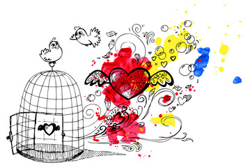 Cute birds in love escaping from a cage