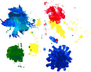 Digital illustration of color ink splatters.
