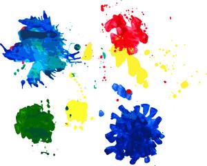 Digital illustration of color ink splatters.