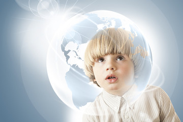 Curious  boy - globe - education - travelling the world