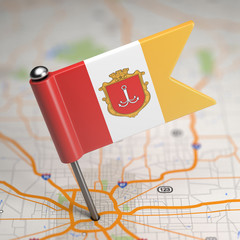 Odessa Small Flag on a Map Background.