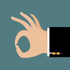 Hand of businessman gesturing okay. Business concept.