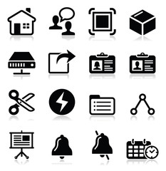 Web, internet vector black icons set