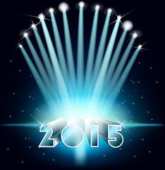Happy new year 2015. Background with floodlit. Festive illuminat