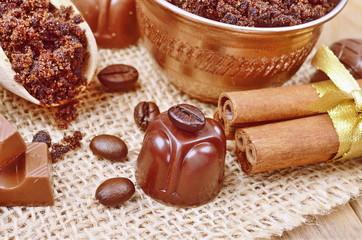 Brown sugar, cinnamon sticks and coffee beans