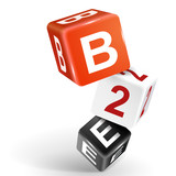 3d dice illustration with word B2E poster