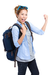 Excited woman backpack traveler