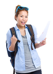Happy travel woman holding information