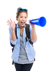 Female travel with megaphone