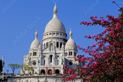 Sacre Coeur Cathedral during spring time in Paris, France