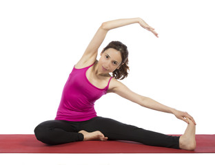 Young woman stretching her upper body