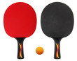 two table tennis, ping pong rackets isolated on white