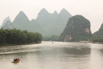 Boat Drift on Yulong river, Yangshuo, Guilin, China