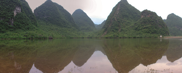 Panorama with green hills in Yangshuo, China