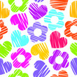 Colorful rainbow sketchy hearts and flowers seamless pattern