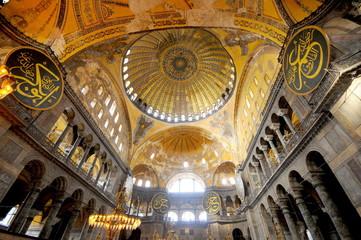 Interior of the Hagia Sophia in, Istanbul, Turkey