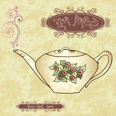 Tea party invitation card template vector.