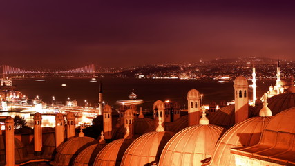Night Bosphorus Strait and Galata Bridge. Timelapse