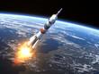 "Leinwandbild Motiv Carrier rocket ""Soyuz-FG"" Launching"