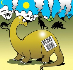 Expiration date on dinosaur's back