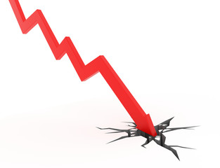 Red arrow graph breaks through the ground