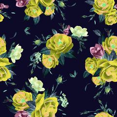 Abstract seamless floral pattern with of  roses and freesia