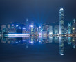 HK Victoria Harbour of skyline night