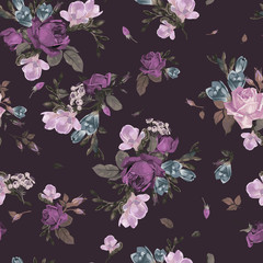Seamless floral pattern with of roses and freesia, watercolor