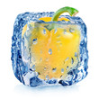 Yellow pepper in ice cube