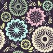 Seamless pattern retro flowers pink beige blue green brown