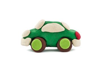green plasticine car