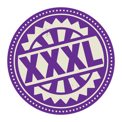 Abstract stamp or label with the text XXXL written inside