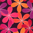Cute spring pink and orange flower pattern seamless background