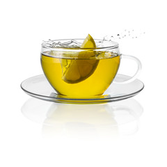 Tee tasse mit zitronen splash