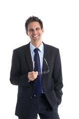 Erfolgreicher Geschäftsmann mit Brille in der Hand