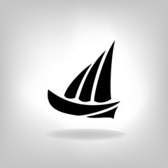 the stylized ship, boat on a light background